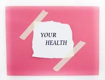 Fondo rojo y blanco de su salud Fotografía de archivo libre de regalías
