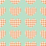 Fondo rojo y blanco del vector de la tela escocesa Modelo a cuadros de los corazones de la repetición inconsútil stock de ilustración