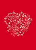 Fondo rojo y cremoso con el corazón del amor Imagen de archivo libre de regalías