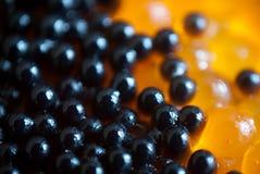 Fondo rojo y negro del caviar fotos de archivo