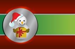 Fondo rojo y verde del muñeco de nieve de la Navidad Imágenes de archivo libres de regalías