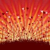 Fondo romántico con los corazones Imagen de archivo libre de regalías