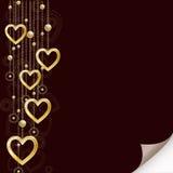 Fondo romántico con los corazones de oro Fotografía de archivo