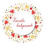 Fondo romántico con rojo y corazones chispeantes del oro Foto de archivo libre de regalías