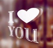Fondo romántico con te amo el texto Imagen de archivo