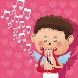 Fondo romántico del corazón de la arpa del día de San Valentín de la música feliz del cupido ilustración del vector