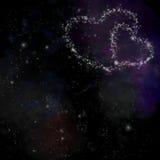 fondo romántico del espacio de 2 corazones Imagen de archivo libre de regalías