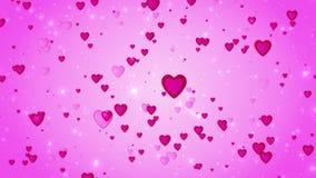 Fondo romántico del rosa de la boda El movimiento de corazones rojos Símbolo del amor valentine animación 3D ilustración del vector