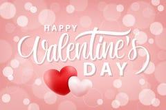 Fondo romántico feliz del día de tarjetas del día de San Valentín con los corazones realistas 14 de febrero saludos del día de fi Fotos de archivo libres de regalías