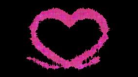 Fondo romántico 4k de la tarjeta del día de San Valentín del corazón de las partículas abstractas de la animación almacen de metraje de vídeo