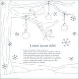 Fondo romántico monocromático con el árbol de navidad, copos de nieve que caen ilustración del vector
