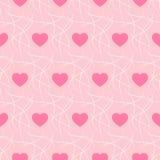Fondo romántico rosado con los corazones y la jerarquía de imitación inconsútiles - vector Imagen de archivo libre de regalías