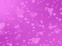 Fondo romantico con i cuori su un fondo rosa immagine stock libera da diritti