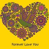 Fondo romantico con i fiori e gli uccelli Figura del cuore Immagini Stock