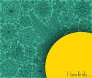 Fondo romantico con i fiori, gli uccelli e la coccinella Immagini Stock Libere da Diritti