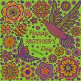 Fondo romantico con i fiori, gli uccelli e la coccinella Progettazione di carta per buona Festa della Mamma Fotografia Stock Libera da Diritti