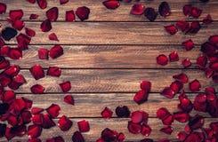 Fondo romantico con il confine dei petali delle rose Fotografie Stock Libere da Diritti