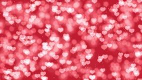 Fondo romantico di moto di giorno di biglietti di S. Valentino con il bokeh dei cuori