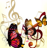 Fondo romantico di musica di lerciume con le note e le rose royalty illustrazione gratis