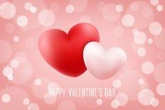 Fondo romantico felice di giorno di biglietti di S. Valentino con i cuori realistici 14 febbraio saluti di festa Fotografie Stock Libere da Diritti