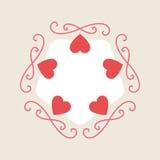 Fondo romanzesco per la carta di Valentine Day con i cuori e il monogr illustrazione di stock