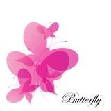 Fondo rosa astratto delle farfalle di vettore Immagini Stock