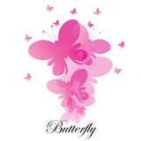 Fondo rosa astratto delle farfalle di vettore Fotografie Stock
