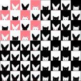 Fondo rosa bianco nero del bordo di Cat Rabbit Chess Immagine Stock Libera da Diritti