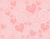 Fondo rosa claro de los remolinos de los corazones stock de ilustración