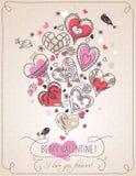 Fondo rosa con Florida del cuore e della molla del biglietto di S. Valentino Fotografia Stock Libera da Diritti
