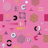 Fondo rosa con gli elementi grafici Immagini Stock