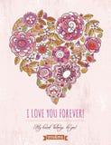 Fondo rosa con il cuore del biglietto di S. Valentino del flo della molla Fotografie Stock