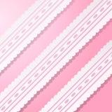Fondo rosa con pizzo bianco d'annata. Fotografie Stock Libere da Diritti