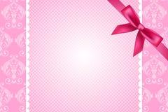 Fondo rosa con pizzo e l'arco Fotografia Stock Libera da Diritti