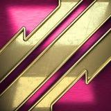 Fondo rosa del metallo con l'elemento giallo Immagine Stock