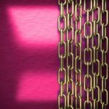 Fondo rosa del metallo con l'elemento giallo Fotografie Stock Libere da Diritti