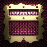 Fondo rosa del metallo con l'elemento giallo Fotografia Stock Libera da Diritti
