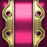 Fondo rosa del metallo con l'elemento giallo Fotografia Stock