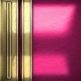 Fondo rosa del metallo con l'elemento giallo Immagini Stock