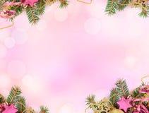 Fondo rosa della carta in bianco di pendenza con il confine del bokeh fotografie stock libere da diritti