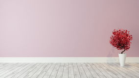 Fondo rosa della parete con la pianta rossa per la decorazione Fotografie Stock