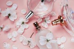 Fondo rosa delle bottiglie di profumo Profumeria, fragranza dei cosmetici Fotografie Stock Libere da Diritti