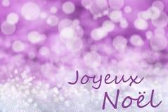 Fondo rosa di Bokeh, neve, Joyeux Noel Means Merry Christmas immagine stock libera da diritti