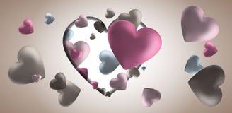 Fondo rosa di giorno del biglietto di S. Valentino s con i cuori 3d su rosso Fotografie Stock