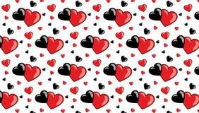 Fondo rosa di giorno del biglietto di S. Valentino s con i cuori 3d su rosso Fotografia Stock Libera da Diritti