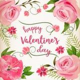 Fondo rosa di giorno del ` s del biglietto di S. Valentino dell'acquerello Fotografia Stock