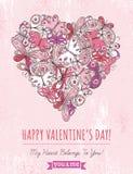 Fondo rosa di lerciume con il cuore del biglietto di S. Valentino di ma Fotografie Stock Libere da Diritti