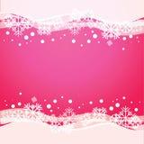 Fondo rosa di vettore con i fiocchi di neve Immagini Stock