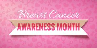 Fondo rosa di vettore con la campagna di carta di mese di consapevolezza del cancro al seno di ottobre del nastro royalty illustrazione gratis