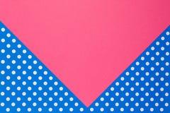 Fondo rosa e blu geometrico astratto della carta del pois Immagine Stock Libera da Diritti